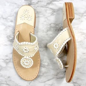 Jack Rogers | Hampton Leather Cream Sandals